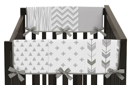 Grey and White Woodland Side Crib Rail Guards Baby Teething Cover Protector Wrap for Woodsy Collection by Sweet Jojo Designs - Set of 2 - Click to enlarge