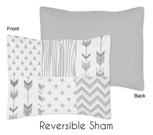 Grey and White Woodland Standard Pillow Sham for Woodsy Collection by Sweet Jojo Designs - Click to enlarge