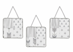 Grey and White Woodland Wall Hanging Decor for Woodsy Collection by Sweet Jojo Designs - Set of 3