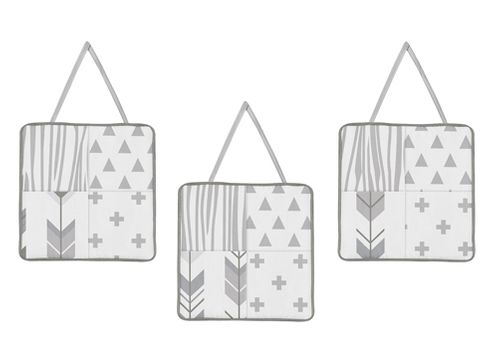Grey and White Woodland Wall Hanging Decor for Woodsy Collection by Sweet Jojo Designs - Set of 3 - Click to enlarge