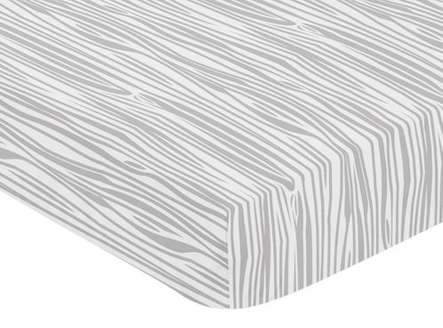 Grey and White Woodland Wood Grain Baby or Toddler Fitted Crib Sheet for Rustic Patch Collection by Sweet Jojo Designs - Gray - Click to enlarge