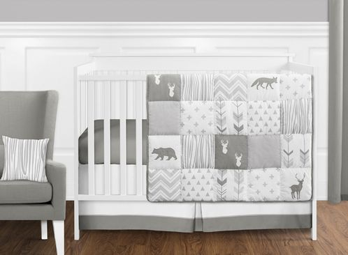 Grey and White Woodsy Deer Boy, Girl, Unisex Baby Crib Bedding Set without Bumper by Sweet Jojo Designs - 11 pieces - Click to enlarge