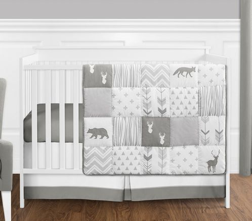 Grey and White Woodsy Deer Boy, Girl, Unisex Baby Crib Bedding Set without Bumper by Sweet Jojo Designs - 4 pieces - Click to enlarge