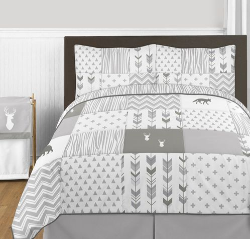 Grey and White Woodsy Deer Boy or Girl Full / Queen Kid Childrens Bedding Comforter Set by Sweet Jojo Designs - 3 pieces - Click to enlarge