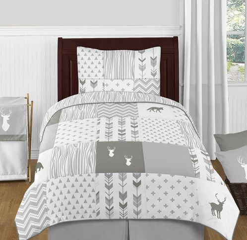 Grey and White Woodsy Deer Boy or Girl Twin Kid Childrens Bedding Comforter Set by Sweet Jojo Designs - 4 pieces - Click to enlarge