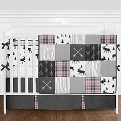 Grey, Black and Pink Woodland Plaid and Arrow Rustic Patch Baby Girl Crib Bedding Set with Bumper by Sweet Jojo Designs 9 pieces Flannel Moose Gray