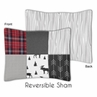 Grey, Black and Red Woodland Moose and Arrow Standard Pillow Sham for Rustic Patch Collection by Sweet Jojo Designs - Plaid Flannel Gray