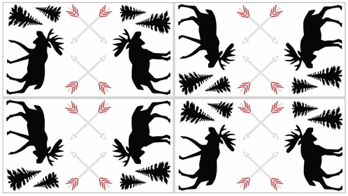 Grey, Black and Red Woodland Moose and Arrow Peel and Stick Wall Decal Stickers Art Nursery Decor for Rustic Patch Collection by Sweet Jojo Designs - Set of 4 Sheets - Click to enlarge