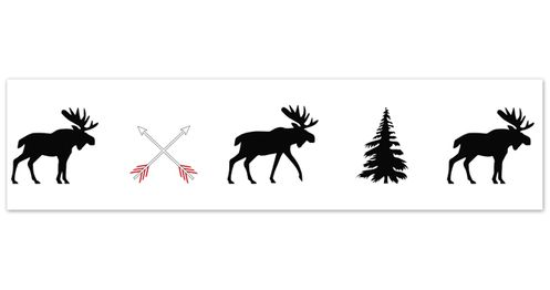 Grey, Black and Red Woodland Moose and Arrow Wallpaper Wall Border for Rustic Patch Collection by Sweet Jojo Designs - Click to enlarge