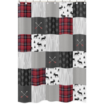 Grey, Black and Red Woodland Plaid and Arrow Bathroom Fabric Bath Shower Curtain for Rustic Patch Collection by Sweet Jojo Designs - Flannel Moose Gray
