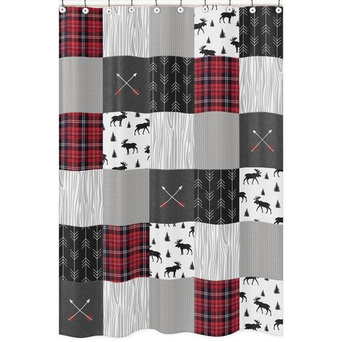 Grey, Black and Red Woodland Plaid and Arrow Bathroom Fabric Bath Shower Curtain for Rustic Patch Collection by Sweet Jojo Designs - Flannel Moose Gray - Click to enlarge
