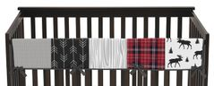 Grey, Black and Red Woodland Plaid and Arrow Long Front Crib Rail Guard Baby Teething Cover Protector Wrap for Rustic Patch Collection by Sweet Jojo Designs - Flannel Moose Gray