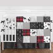 Grey, Black and Red Woodland Plaid and Arrow Rustic Patch Baby Boy Crib Bedding Set with Bumper by Sweet Jojo Designs - 9 pieces - Flannel Moose Gray