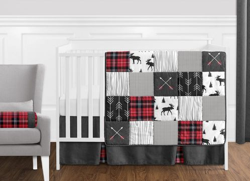 Grey, Black and Red Woodland Plaid and Arrow Rustic Patch Baby Boy Crib Bedding Set without Bumper by Sweet Jojo Designs - 11 pieces - Flannel Moose Gray - Click to enlarge