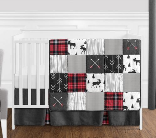 Grey, Black and Red Woodland Plaid and Arrow Rustic Patch Baby Boy Crib Bedding Set without Bumper by Sweet Jojo Designs - 4 pieces - Flannel Moose Gray - Click to enlarge
