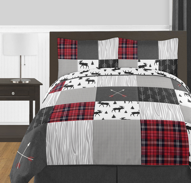 Grey Black And Red Woodland Plaid, Red And Black Plaid Queen Bedding