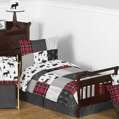 Grey, Black and Red Woodland Plaid and Arrow Rustic Patch Boy Toddler Kid Childrens Bedding Set by Sweet Jojo Designs - 5 pieces Comforter, Sham and Sheets - Flannel Moose Gray