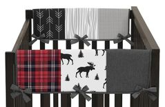 Grey, Black and Red Woodland Plaid and Arrow Side Crib Rail Guards Baby Teething Cover Protector Wrap for Rustic Patch Collection by Sweet Jojo Designs - Set of 2 - Flannel Moose Gray
