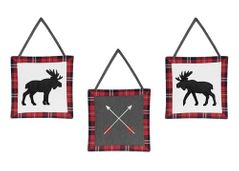 Grey, Black and Red Woodland Plaid Moose and Arrow Wall Hanging Decor for Rustic Patch Collection by Sweet Jojo Designs - Set of 3