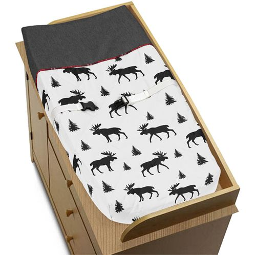 Grey, Black and Red Woodland Plaid and Moose Changing Pad Cover for Rustic Patch Collection by Sweet Jojo Designs - Click to enlarge