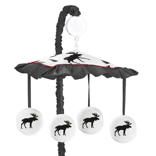 Grey, Black and Red Woodland Plaid and Moose Musical Baby Crib Mobile for Rustic Patch Collection by Sweet Jojo Designs - Click to enlarge