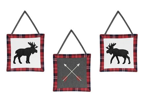 Grey, Black and Red Woodland Plaid Moose and Arrow Wall Hanging Decor for Rustic Patch Collection by Sweet Jojo Designs - Set of 3 - Click to enlarge