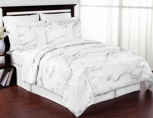 Grey, Black and White Marble 3pc Bed in a Bag King Bedding Set Collection by Sweet Jojo Designs - Click to enlarge