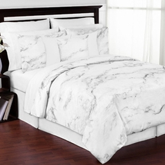 Grey, Black and White Marble 3pc Bed in a Bag King Bedding Set Collection by Sweet Jojo Designs