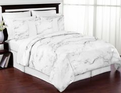 Grey, Black and White Marble 3pc Teen Full / Queen Bedding Set Collection by Sweet Jojo Designs