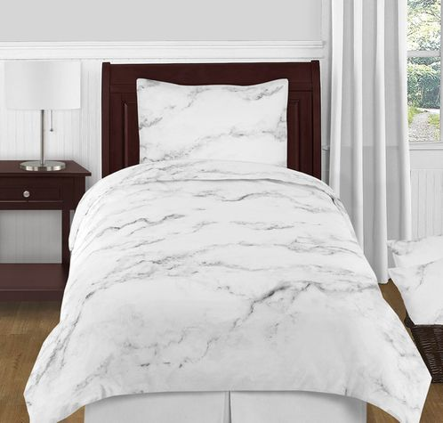 Grey, Black and White Marble 4pc Twin / Twin XL Bedding Set by Sweet Jojo Designs - Click to enlarge