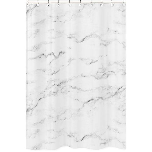 Grey, Black and White Marble Childrens Bathroom Fabric Bath Shower Curtain by Sweet Jojo Designs - Click to enlarge