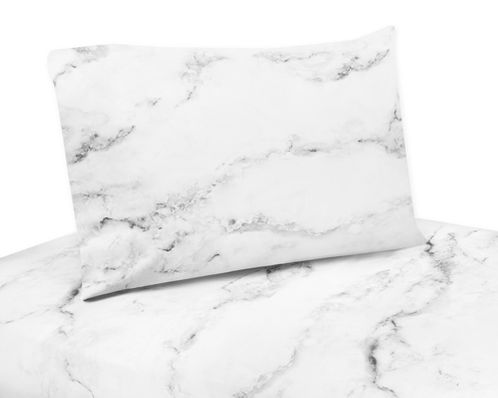 Grey, Black and White Marble Collection - King Sheet Set by Sweet Jojo Designs - Click to enlarge