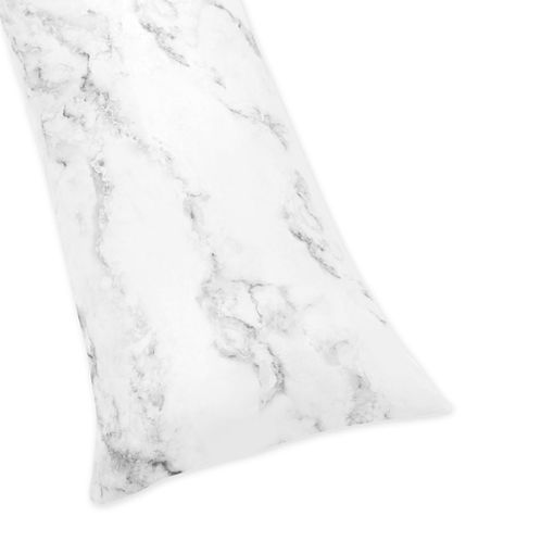 Grey, Black and White Marble Print Full Length Double Zippered Body Pillow Case Cover - Click to enlarge