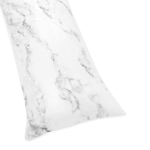 Grey, Black and White Marble Print Full Length Double Zippered Body Pillow Case Cover