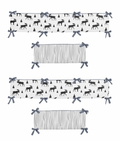 Grey, Black and White Woodland Moose Baby Crib Bumper Pad for Rustic Patch Collection by Sweet Jojo Designs