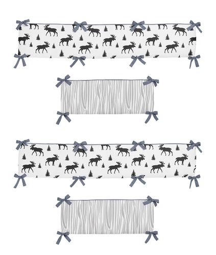 Grey, Black and White Woodland Moose Baby Crib Bumper Pad for Rustic Patch Collection by Sweet Jojo Designs - Click to enlarge