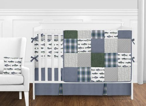 Grey, Blue, Green and White Fishing Patch Rustic Plaid Baby Boy Nursery Crib Bedding Set with Bumper by Sweet Jojo Designs - 9 pieces - Click to enlarge