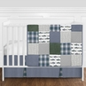 Grey, Blue, Green and White Fishing Patch Rustic Plaid Baby Boy Nursery Crib Bedding Set without Bumper by Sweet Jojo Designs - 4 pieces