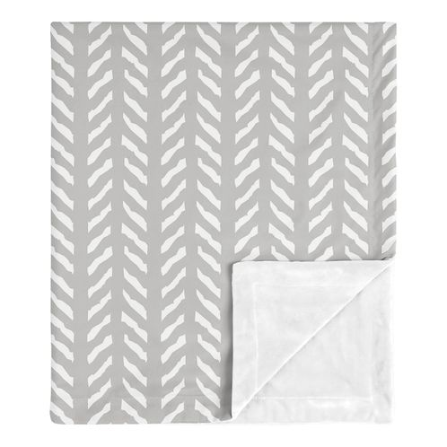 Grey Boho Arrow Baby Boy or Girl Blanket Receiving Security Swaddle for Newborn or Toddler Nursery Car Seat Stroller Soft Minky by Sweet Jojo Designs - Gray and White Herringbone for Woodland Forest Friends Collection Gender Neutral - Click to enlarge