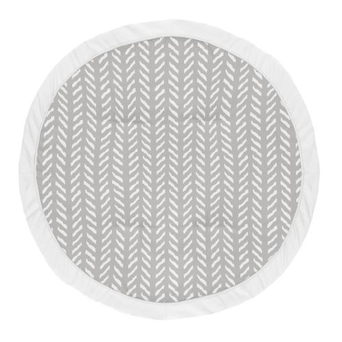 Grey Boho Arrow Boy or Girl Baby Playmat Tummy Time Infant Play Mat by Sweet Jojo Designs - Gray and White Herringbone for Woodland Forest Friends Collection - Click to enlarge