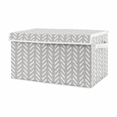 Grey Boho Arrow Boy or Girl Small Fabric Toy Bin Storage Box Chest For Baby Nursery or Kids Room by Sweet Jojo Designs - Gray and White Herringbone for Woodland Forest Friends Collection
