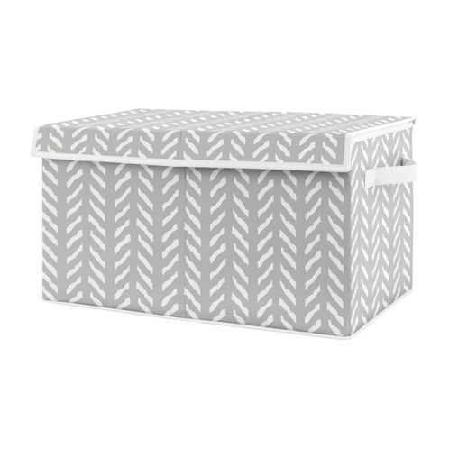 Grey Boho Arrow Boy or Girl Small Fabric Toy Bin Storage Box Chest For Baby Nursery or Kids Room by Sweet Jojo Designs - Gray and White Herringbone for Woodland Forest Friends Collection - Click to enlarge