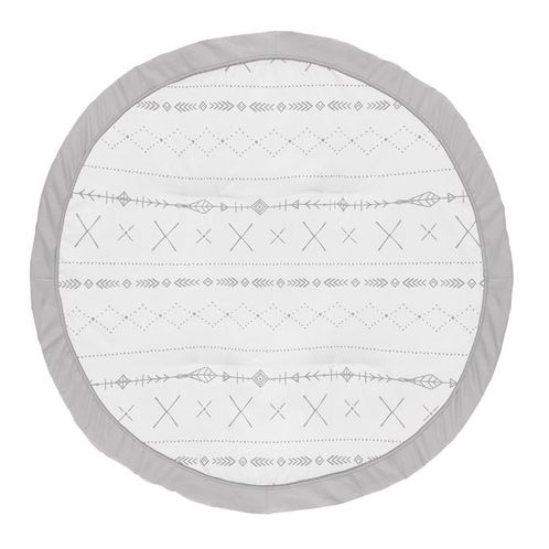 Grey Boho Boy or Girl Baby Playmat Tummy Time Infant Play Mat by Sweet Jojo Designs - Gray and White Woodland Forest Tribal Arrow Unisex - Click to enlarge