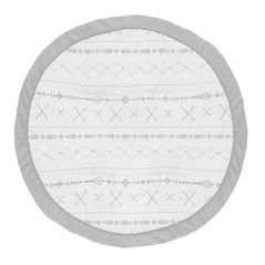 Grey Boho Boy or Girl Baby Playmat Tummy Time Infant Play Mat by Sweet Jojo Designs - Gray and White Woodland Forest Tribal Arrow Unisex