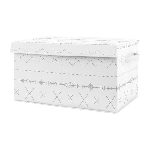 Grey Boho Boy or Girl Small Fabric Toy Bin Storage Box Chest For Baby Nursery or Kids Room by Sweet Jojo Designs - Gray and White Tribal Arrow for Woodland Forest Friends Collection - Click to enlarge