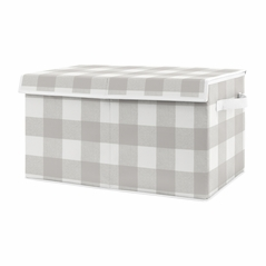 Grey Buffalo Plaid Check Boy Girl Small Fabric Toy Bin Storage Box Chest For Baby Nursery or Kids Room by Sweet Jojo Designs - Grey and White Woodland Rustic Country Farmhouse Lumberjack Gender Neutral