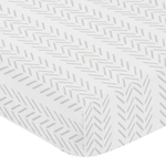 Grey Chevron Arrow Boy Fitted Crib Sheet Baby or Toddler Bed Nursery by Sweet Jojo Designs - Gray and White Geometric Construction Truck Tire Print