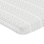 Grey Chevron Arrow Boy Fitted Mini Crib Sheet Baby Nursery by Sweet Jojo Designs For Portable Crib or Pack and Play - Gray and White Geometric Construction Truck Tire Print