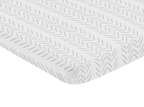Grey Chevron Arrow Boy Fitted Mini Crib Sheet Baby Nursery by Sweet Jojo Designs For Portable Crib or Pack and Play - Gray and White Geometric Construction Truck Tire Print - Click to enlarge