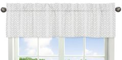 Grey Chevron Arrow Window Treatment Valance by Sweet Jojo Designs - Gray and White Geometric Construction Truck Tire Print
